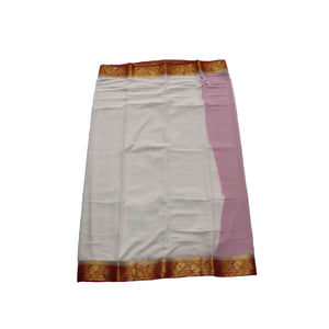 arars Women's kanchipuram kanjivaram pattu style mysore chiffon silk saree with blouse (320,white)