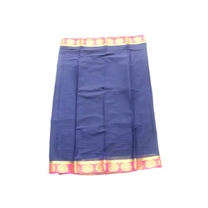 arars Women's kanchipuram kanjivaram pattu style mysore chiffon silk saree with blouse (321,navy blue)