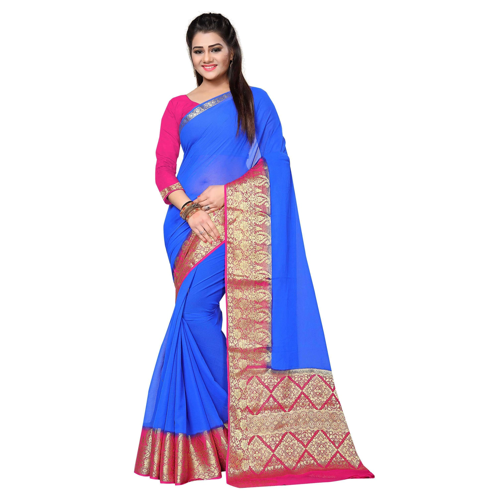 arars plain chiffon silk saree kanjivaram style with blouse saree colour royal blue (323)