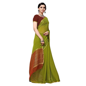 arars Women's kanchipuram kanjivaram pattu style mysore chiffon silk saree with blouse (325,olive)