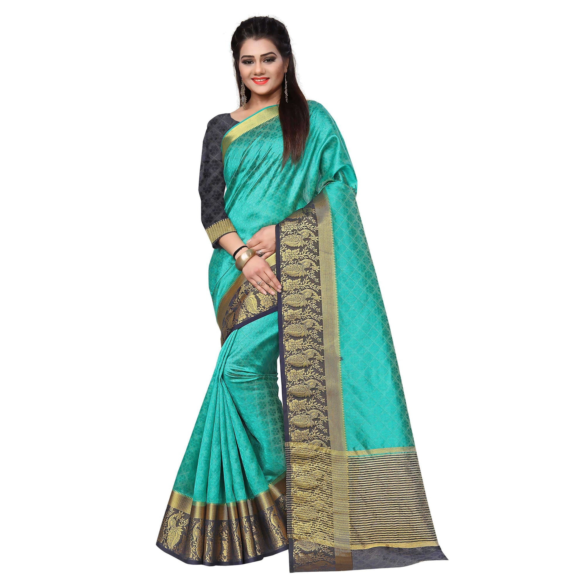 arars kanjivaram art silk saree plain self embose with blouse saree colour safair (327)
