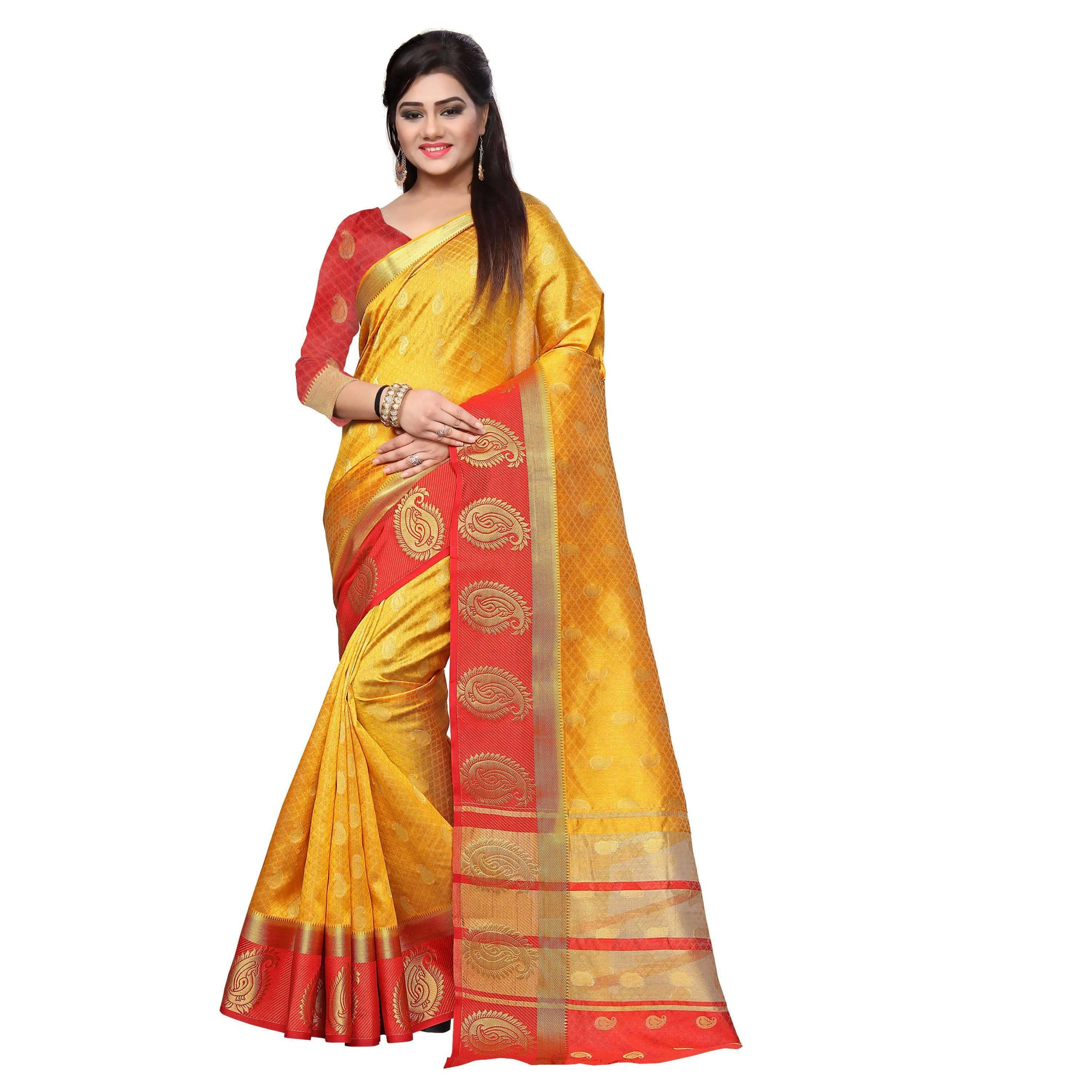 arars kanjivaram art silk saree with blouse saree colour mustard (328)