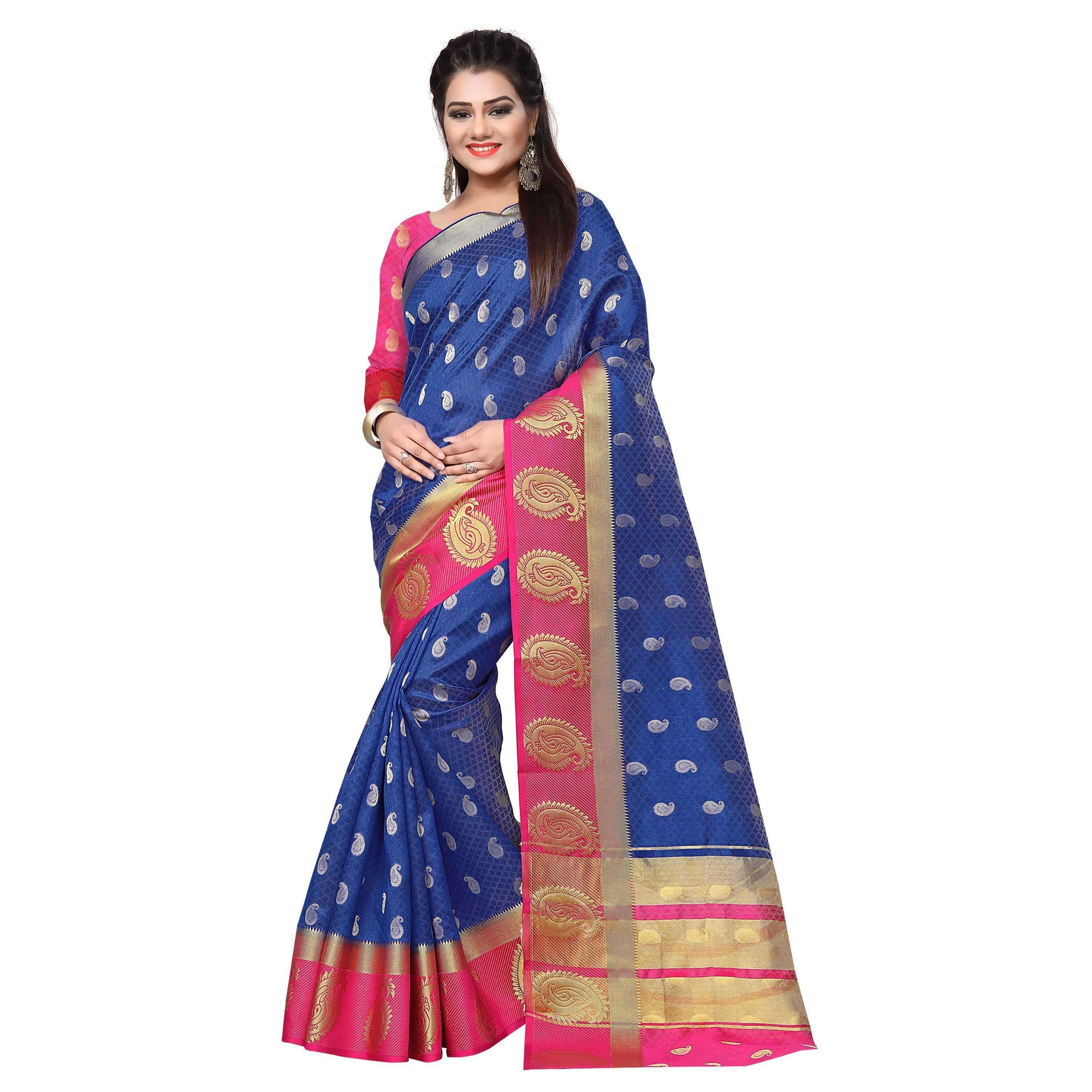 arars kanjivaram art silk saree with blouse saree colour royal blue (328)