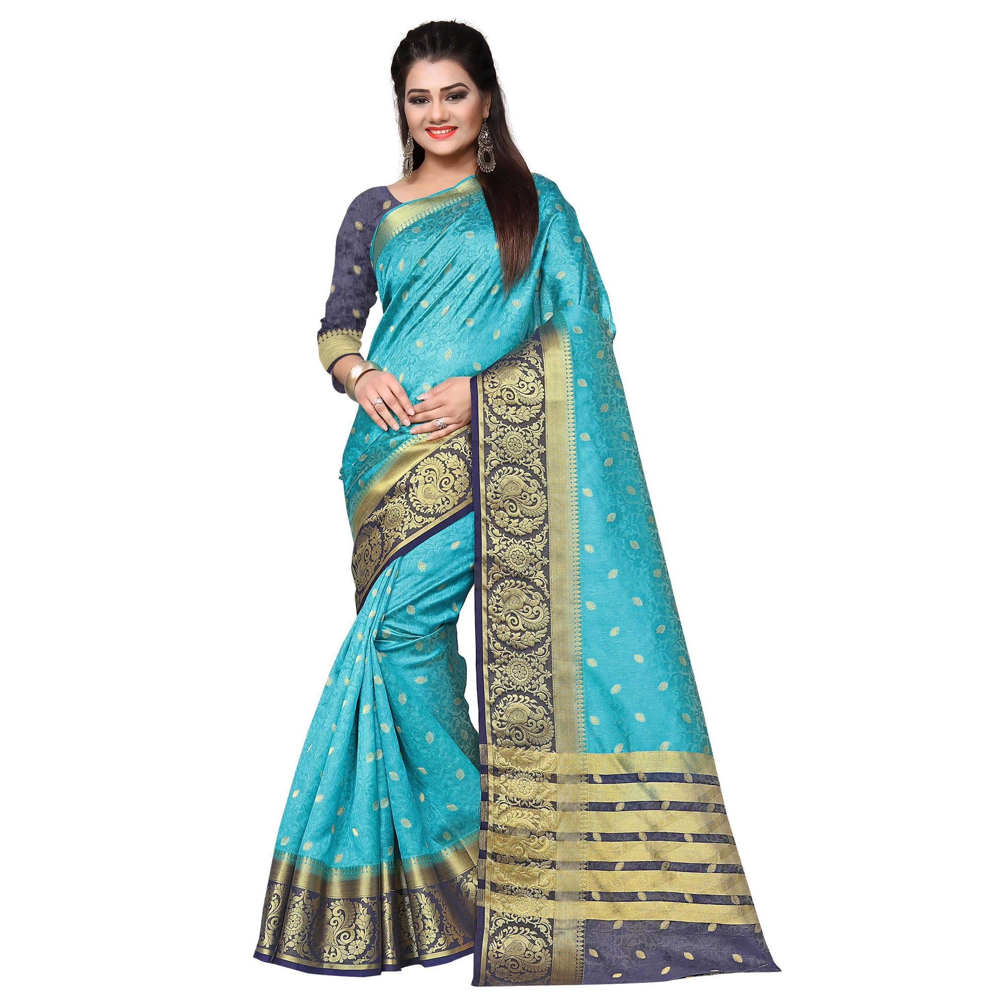 arars kanjivaram art silk saree with blouse saree colour safair (329)