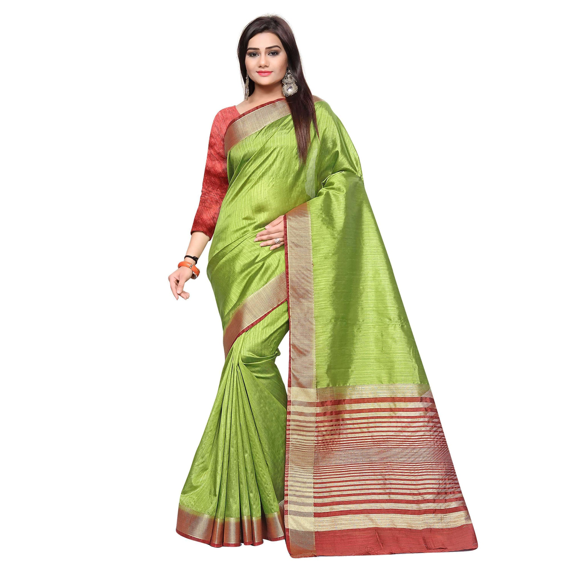 arars kanjivaram art silk saree with blouse saree colour olive (330)