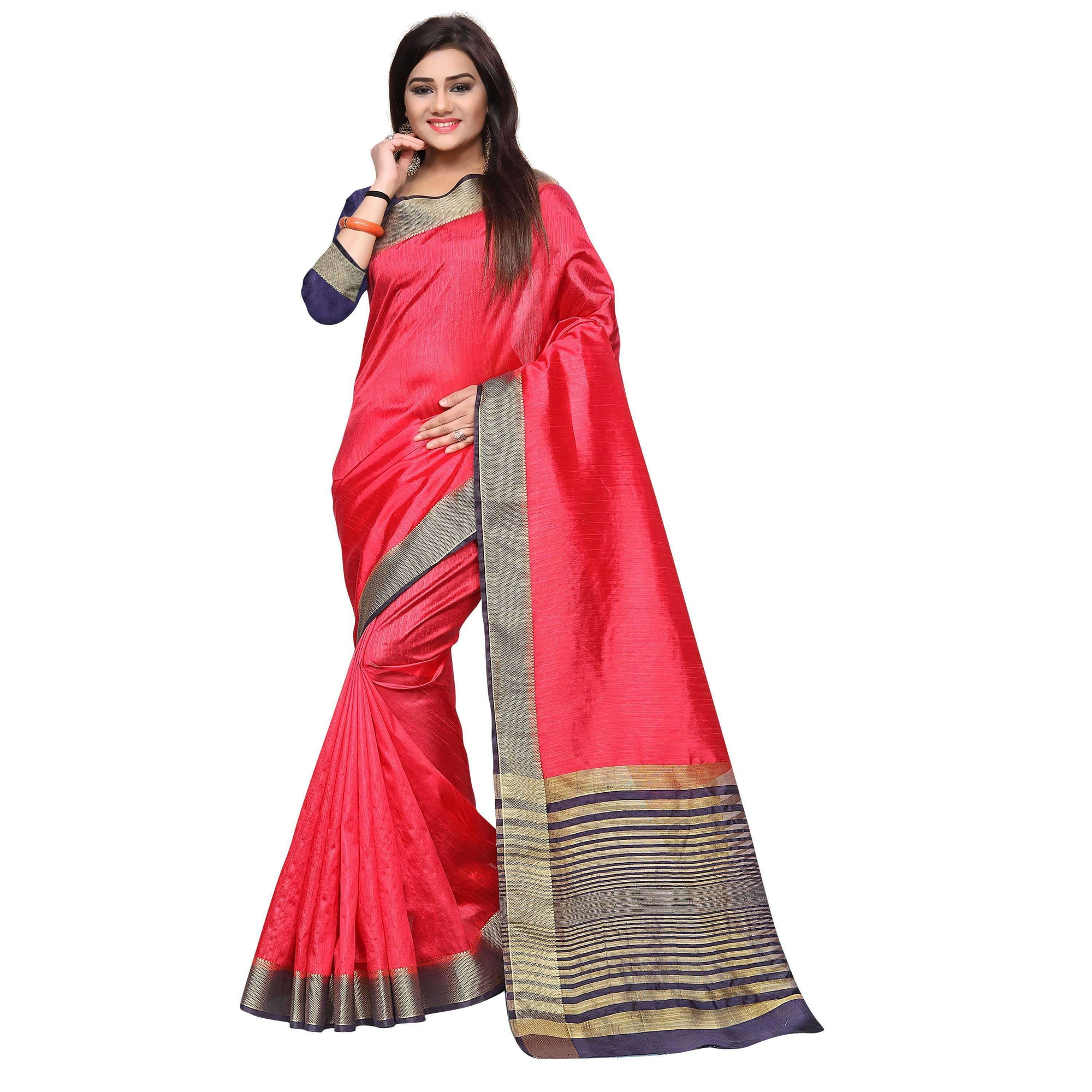 arars kanjivaram art silk saree with blouse saree colour strawberry (330)