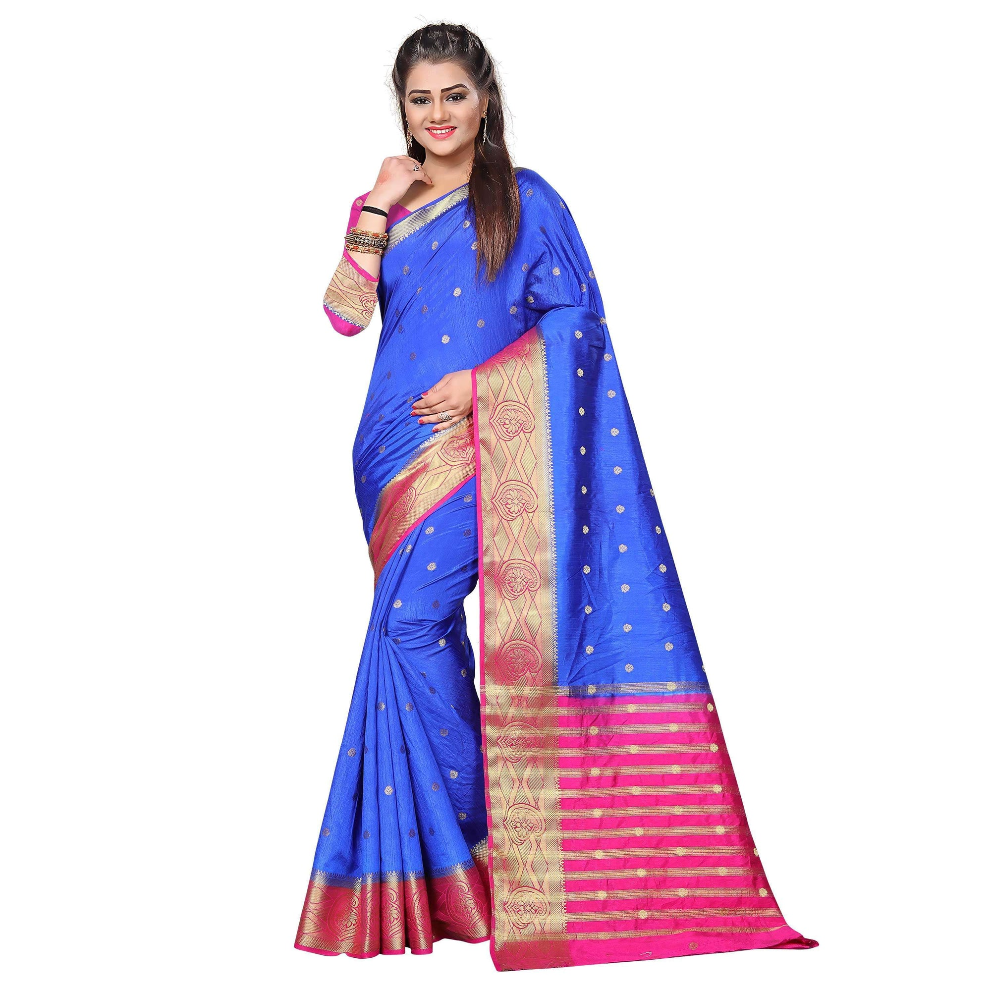 arars kanjivaram art silk saree with blouse saree colour royal blue (331)