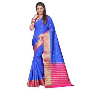 arars kanjivaram art silk saree with blouse saree colour navy blue (331)