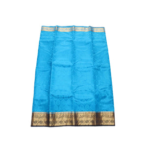 Arars Women's Kanchipuram Kanjivaram Pattu Style Balaton Embosed Plain Silk Saree With Blouse (332 BLUE NAVY )