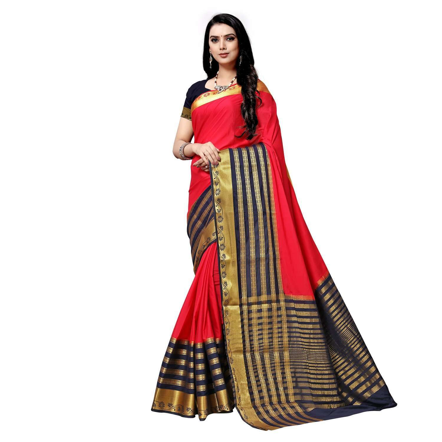 arars Women's kanchipuram kanjivaram pattu style mysore crepe silk saree with blouse (333,strawberry)