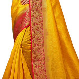 Arars Women's Kanchipuram Kanjivaram Pattu Style Kanjivaram Embosed Plain Silk Saree With Blouse (340 GOLD RANI )