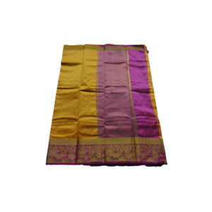 arars Women's kanchipuram kanjivaram pattu style art silk colour saree with blouse (340 GOLD)