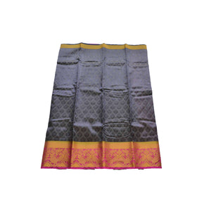 arars Women's kanchipuram kanjivaram pattu style art silk colour saree with blouse (340 NAVY BLUE)
