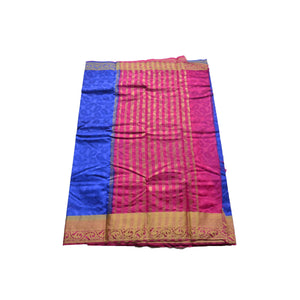 arars Women's kanchipuram kanjivaram pattu style art silk colour saree with blouse (341 ROYAL BLUE)