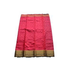 arars Women's kanchipuram kanjivaram pattu style art silk colour saree with blouse (341 STRAWBERRY)