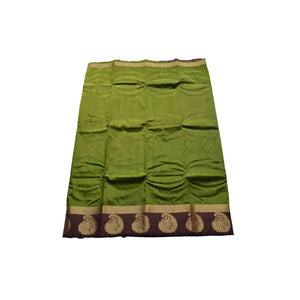 arars Women's kanchipuram kanjivaram pattu style art silk colour saree with blouse (347 OLIVE)