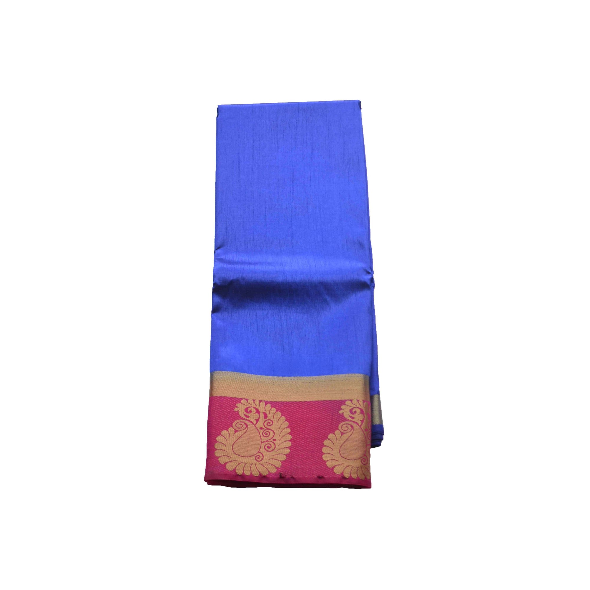 arars Women's kanchipuram kanjivaram pattu style art silk colour saree with blouse (347 ROYAL BLUE)