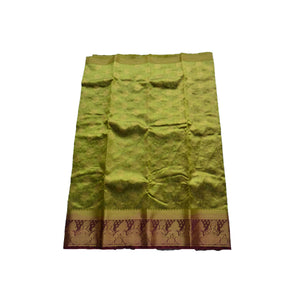 arars Women's kanchipuram kanjivaram pattu style art silk colour saree with blouse (349,olive)