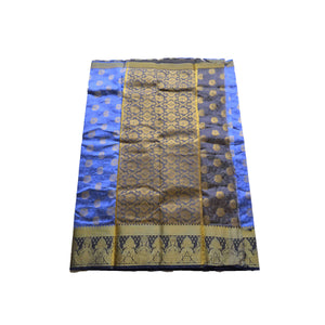 arars Women's kanchipuram kanjivaram pattu style art silk colour saree with blouse (349,royal blue)
