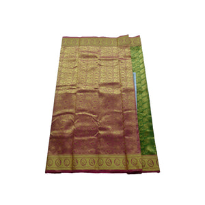 arars Women's kanchipuram kanjivaram pattu style art silk colour saree with blouse (350 OLIVE)