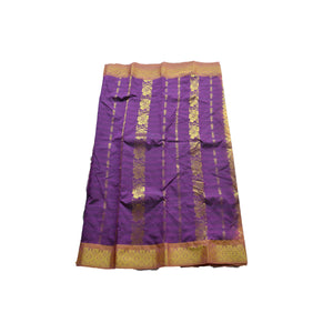 arars Women's kanchipuram kanjivaram pattu style art silk colour saree with blouse (351 PURPLE)