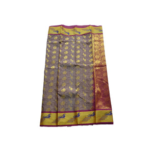 arars Women's kanchipuram kanjivaram pattu style art silk colour saree with blouse (352 CHOCOLATE)
