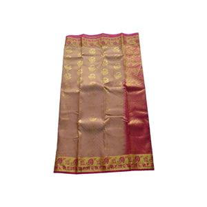 arars Women's kanchipuram kanjivaram pattu style art silk colour saree with blouse (354 BEIGE)