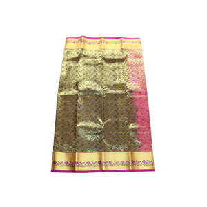 arars Women's kanchipuram kanjivaram pattu style art silk saree with blouse (355,black)