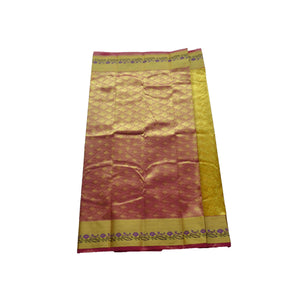 arars Women's kanchipuram kanjivaram pattu style art silk colour saree with blouse (355 GOLD)