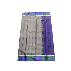 arars Women's kanchipuram kanjivaram pattu style art silk saree with blouse (357,grey)