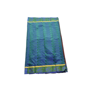 arars Women's kanchipuram kanjivaram pattu style art silk colour saree with blouse (357 MULTI GREEN)