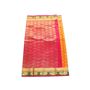 arars Women's kanchipuram kanjivaram pattu style art silk saree with blouse (363,goldark mustard)