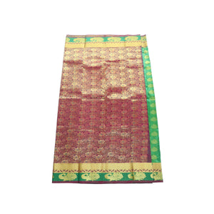 arars Women's kanchipuram kanjivaram pattu style art silk saree with blouse (363,green)