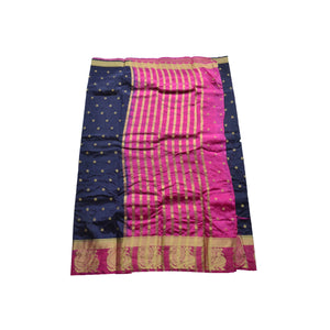 arars Women's kanchipuram kanjivaram pattu style art silk colour saree with blouse (364,navy blue)