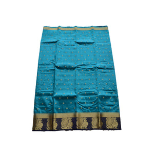 arars Women's kanchipuram kanjivaram pattu style art silk colour saree with blouse (364,safair)
