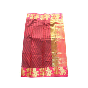 arars Women's kanchipuram kanjivaram pattu style art silk saree with blouse (365,maroon-1)
