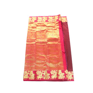 arars Women's kanchipuram kanjivaram pattu style art silk saree with blouse (365,maroon-2)