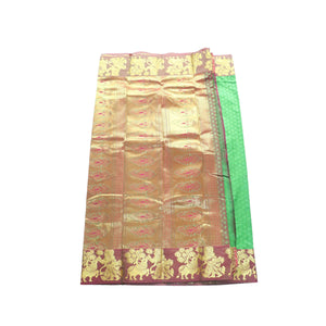 arars Women's kanchipuram kanjivaram pattu style art silk saree with blouse (365,parrot green-1)