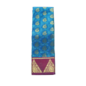 arars Women's kanchipuram kanjivaram pattu style art silk saree with blouse (369,blue)