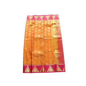 arars Women's kanchipuram kanjivaram pattu style art silk saree with blouse (369,mustard)