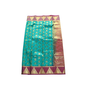arars Women's kanchipuram kanjivaram pattu style art silk saree with blouse (369,rama)