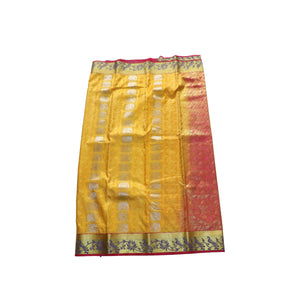 arars Women's kanchipuram kanjivaram pattu style art silk saree with blouse (371,gold)