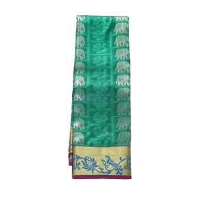 arars Women's kanchipuram kanjivaram pattu style art silk saree with blouse (371,rama)