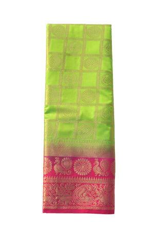 arars Women's Kanchipuram Pattu Banarasi Silk Saree With Blouse (372_parrot_rani )