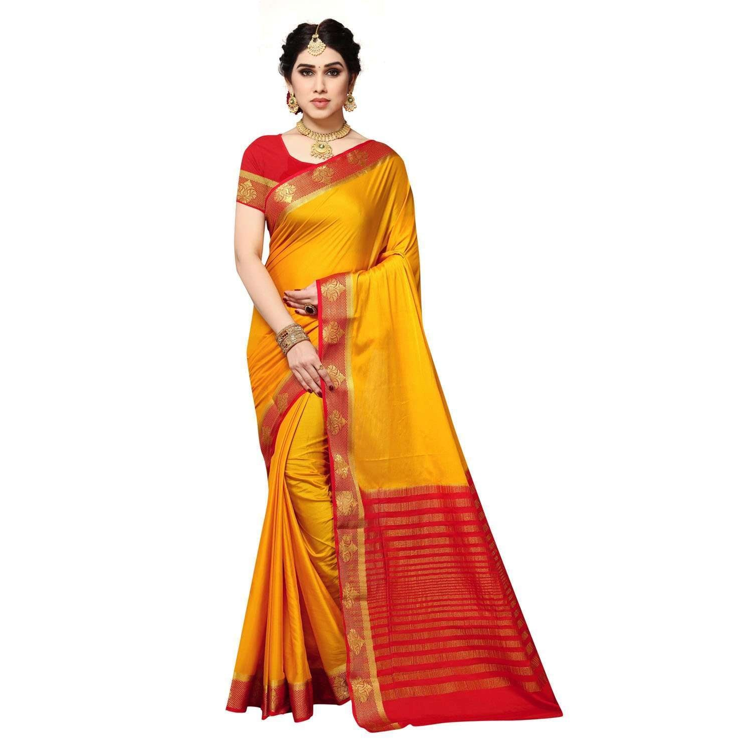 Arars Women's Kanchipuram Kanjivaram Pattu Style Crepe Plain Silk Saree With Blouse (373 MUSTARD )