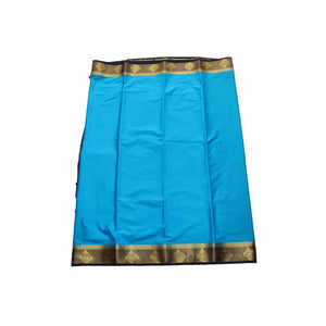arars Women's kanchipuram kanjivaram pattu style mysore crepe silk saree with blouse (373,blue)