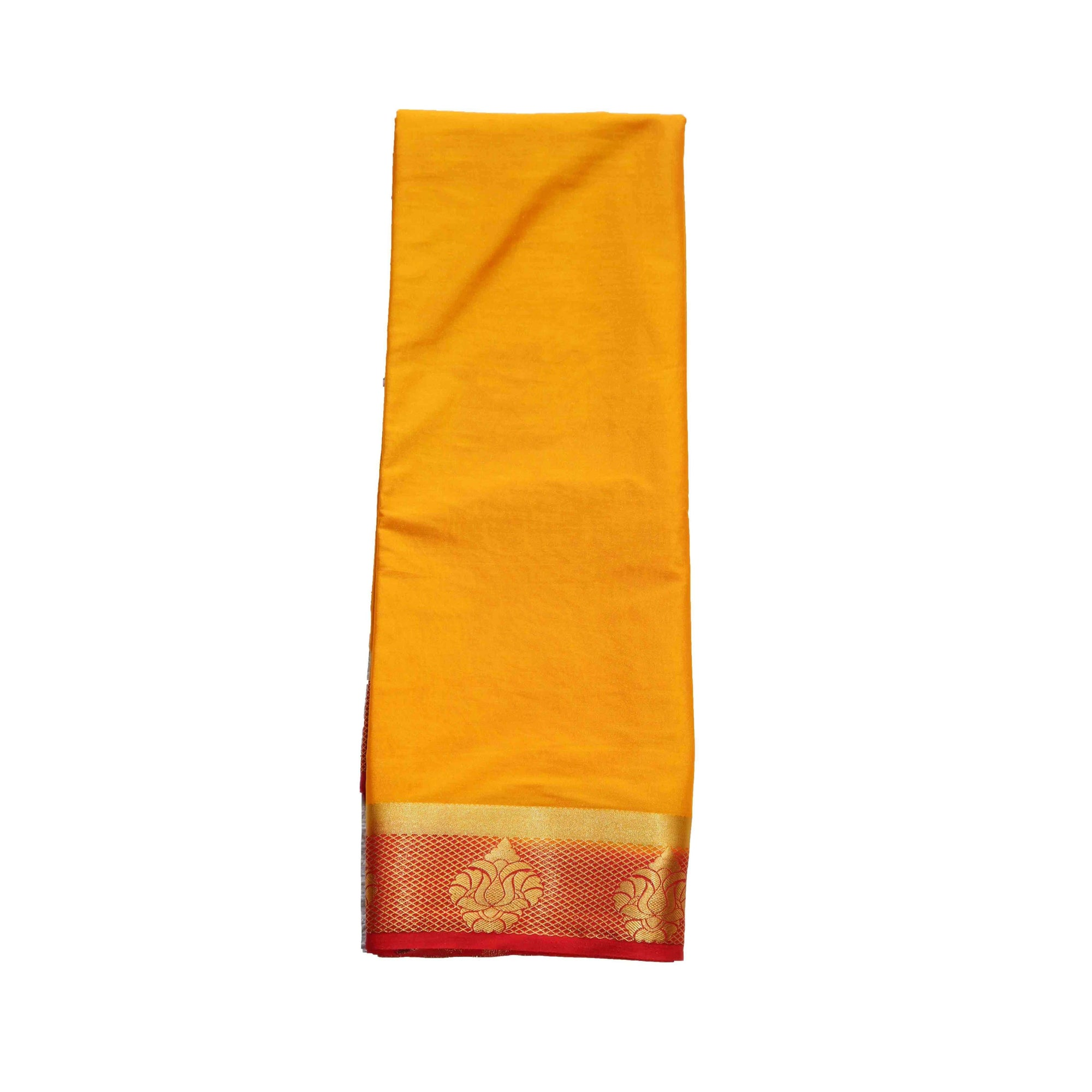 arars Women's kanchipuram kanjivaram pattu style mysore crepe silk saree with blouse (373,mustard)