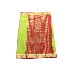 arars Women's kanchipuram kanjivaram pattu style mysore crepe silk saree with blouse (373,olive)