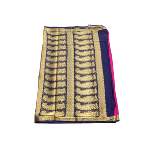 arars Women's kanchipuram kanjivaram pattu style mysore crepe silk saree with blouse (374,rani)