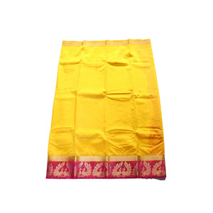 arars Women's kanchipuram kanjivaram pattu style art silk saree with blouse (375,gold)